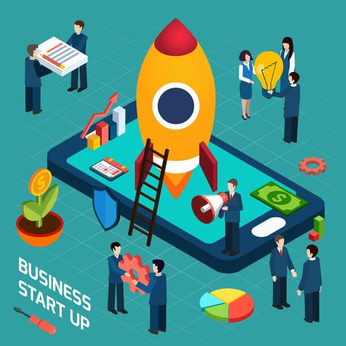 Business startup launch concept isometric poster
