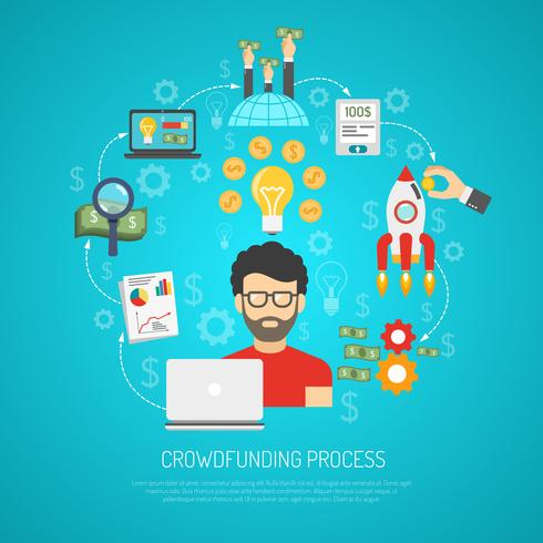 Crowdfunding Concept Flat vector