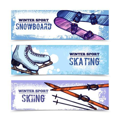 Ensemble de bannière de sport d'hiver