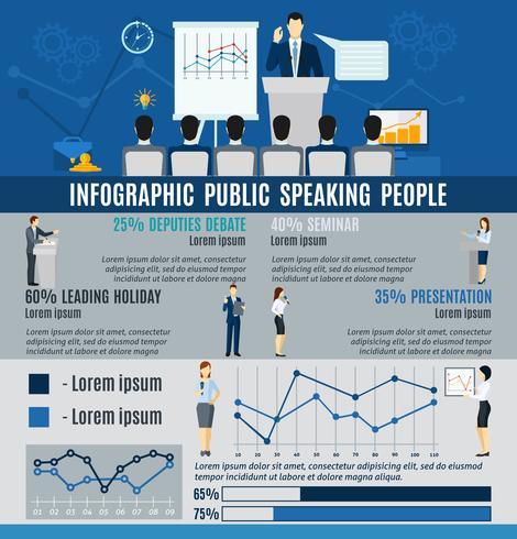 Gente de infografía pública hablando desde el podio vector