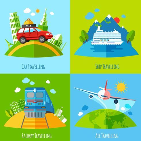 Resa transport 4 platta ikoner kvadrat