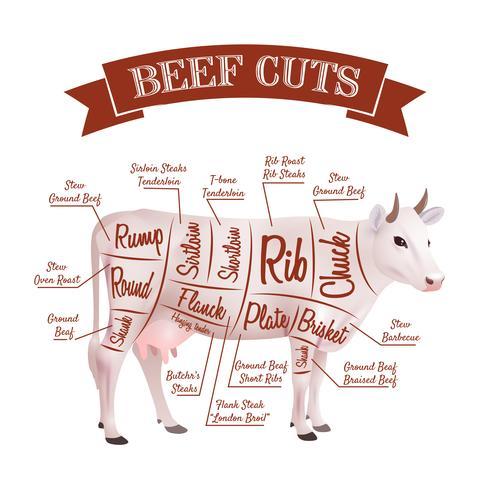 Rundvlees snijdt illustratie