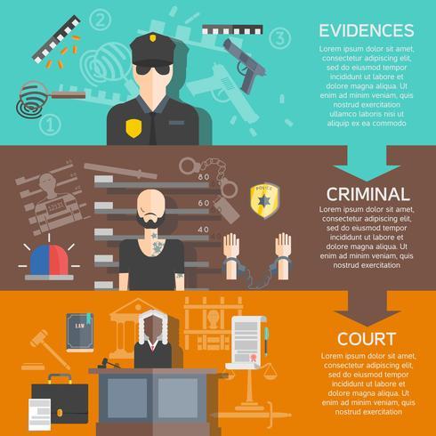 Justiz und Gericht Banner Set