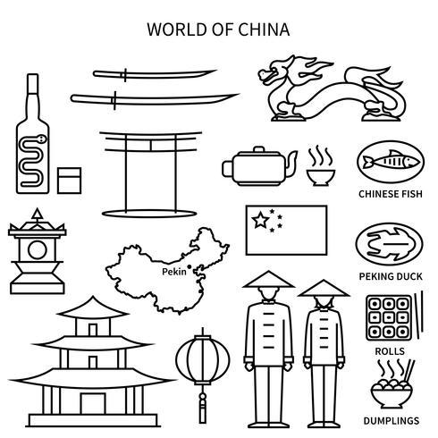Monde de la Chine Line Icons Set
