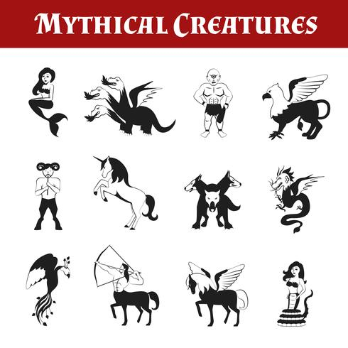 Mythische wezens zwart en wit vector