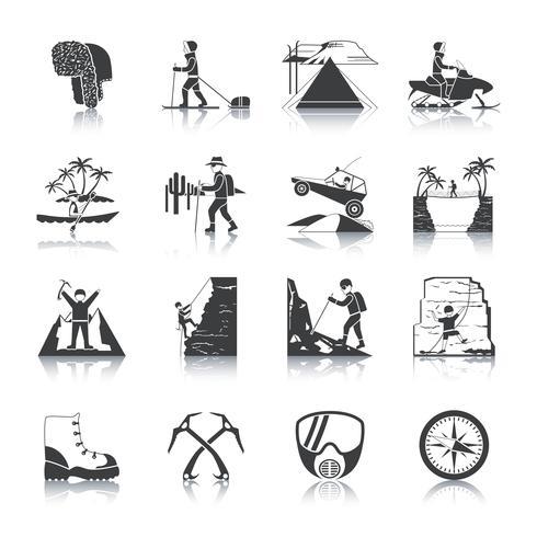 conjunto de ícones de expedição preto vetor