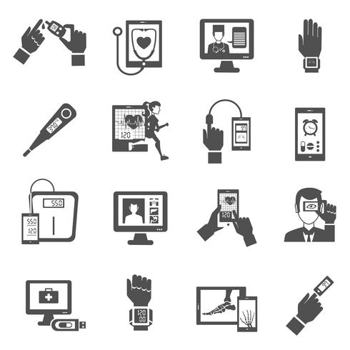 Digital Health Icons Set vector