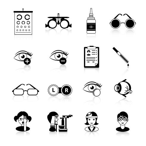 Ophtalmologie Noir Blanc Icons Set
