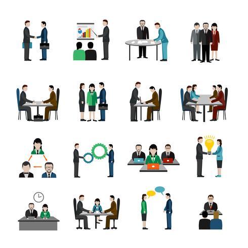 Conjunto de iconos de trabajo en equipo vector