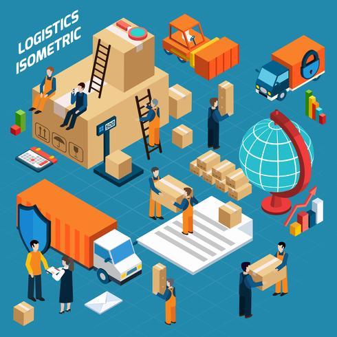 Isometrische magazijn logistiek concept