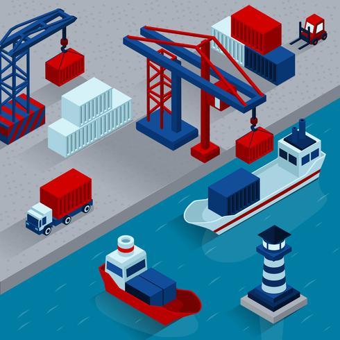 Concepto isométrico del cargamento del cargo del puerto vector