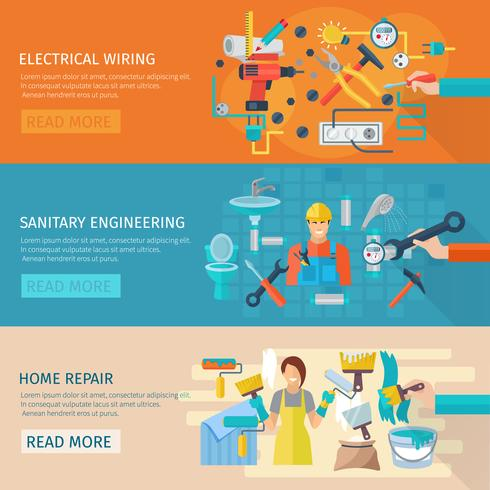 Home Repair Banner Set vector