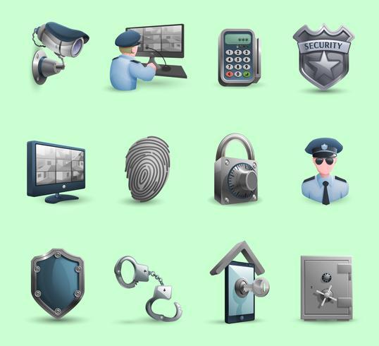 Conjunto de iconos de símbolos de seguridad vector
