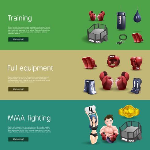 Mma kämpar interaktiva 3d banners set