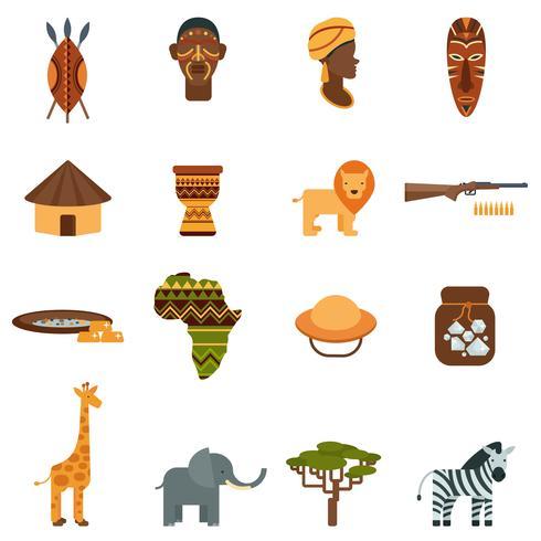 African world flat icons set