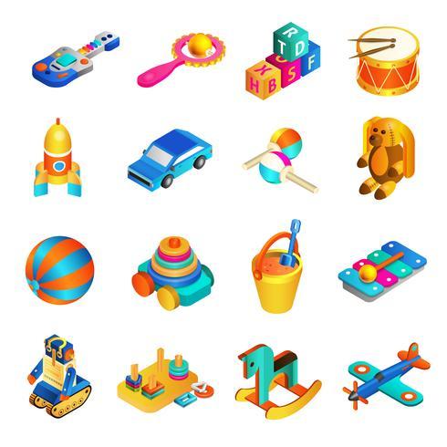 Set isometrico di giocattoli vettore