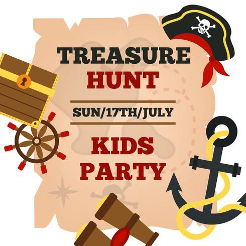 Cartel de anuncio de fiesta de niños piratas vector