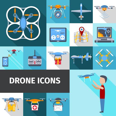 Drohne Icons Set vektor