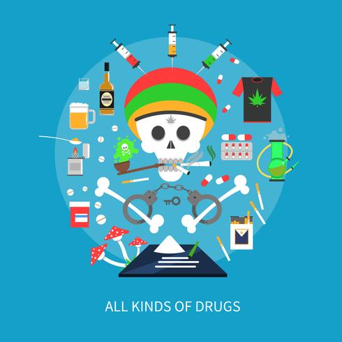 Concept de drogues de toutes sortes vecteur