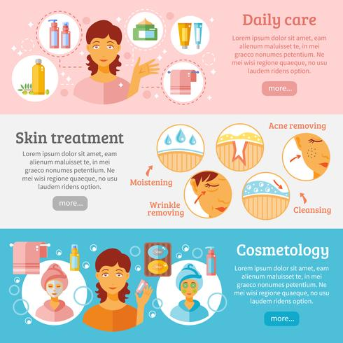 Skin Cosmetology Banners Set  vector