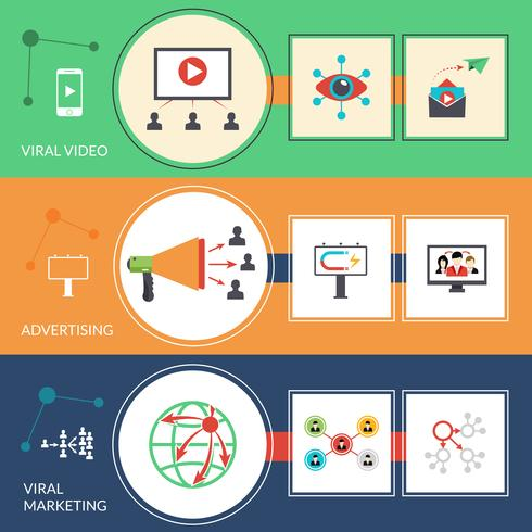 Viral marketing strategy flat banners set