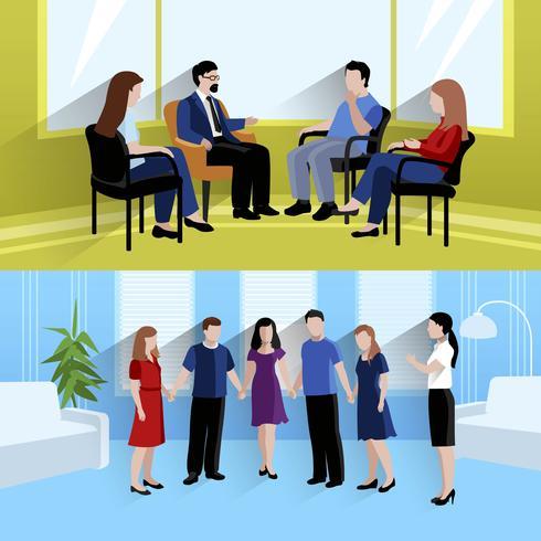 Asesoramiento de relaciones 2 banners de composición plana. vector