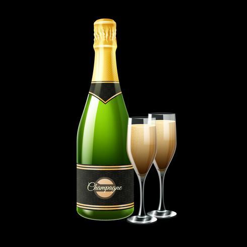 Ilustración de la botella de champán