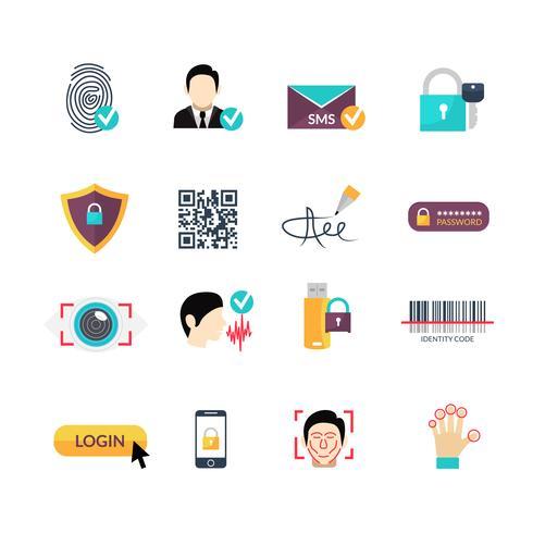 Set di icone piane di metodi sicuri di verifica vettore