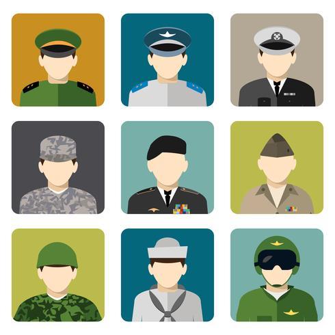 Military social network avatar icons set vector