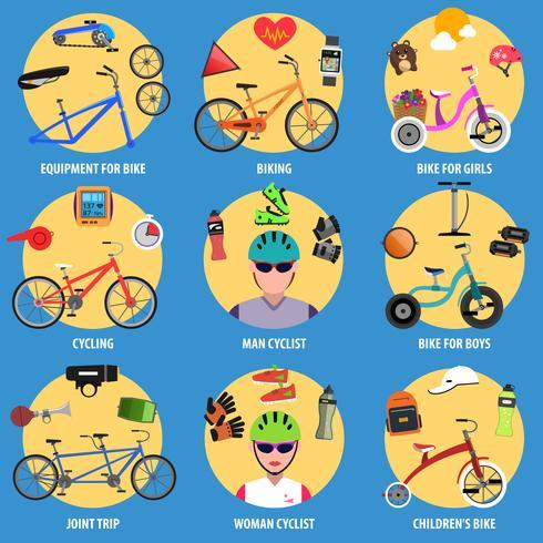 Jeu d'icônes de vélo