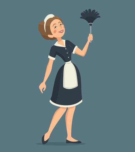 Smiling Cleaning Woman Illustration