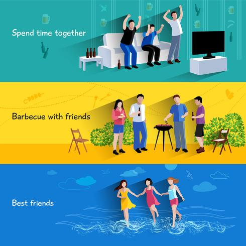 Vänner kompisar 3 horisontella bannersats vektor