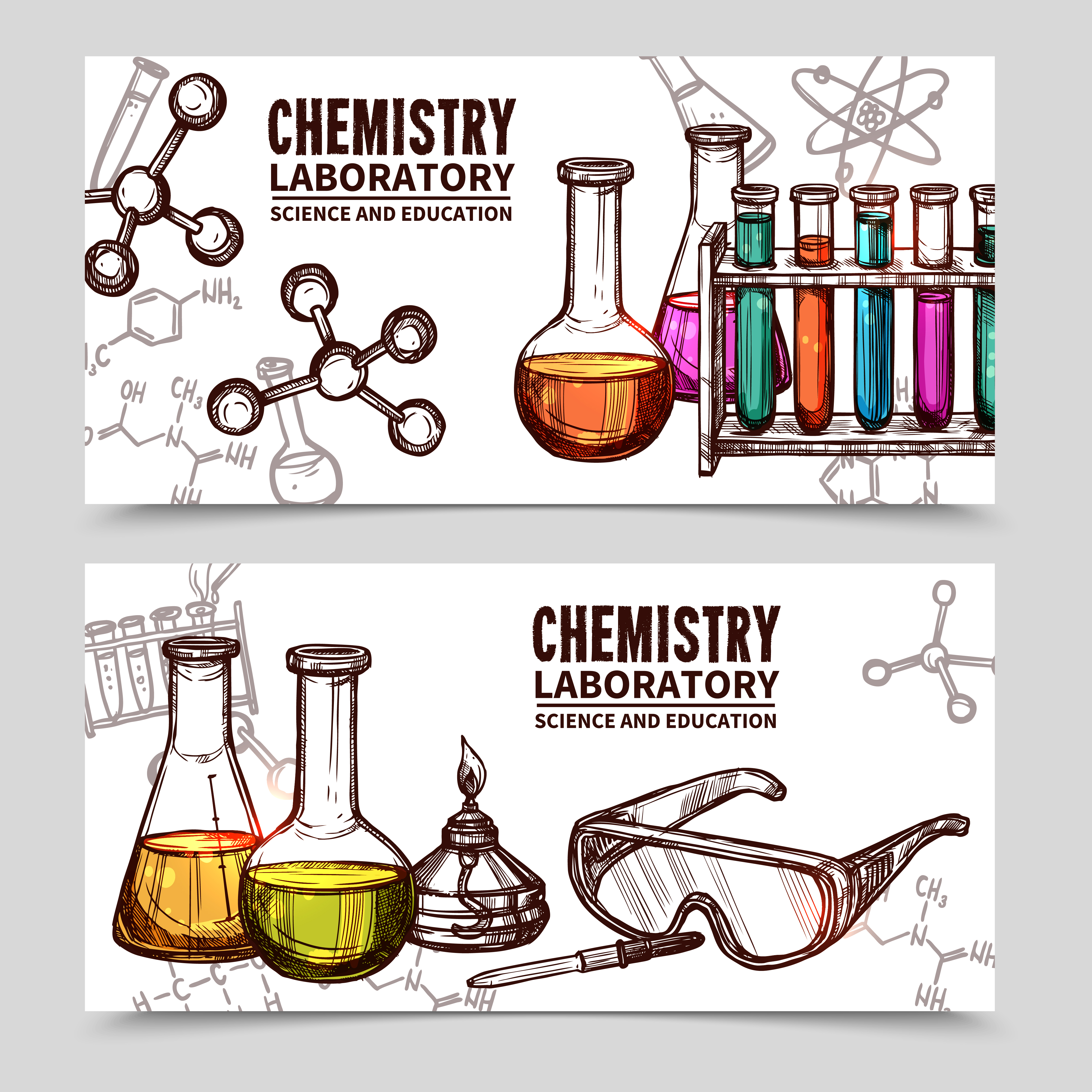Chemistry Laboratory Sketch Banners - Download Free ... |Lab Chemist Drawings