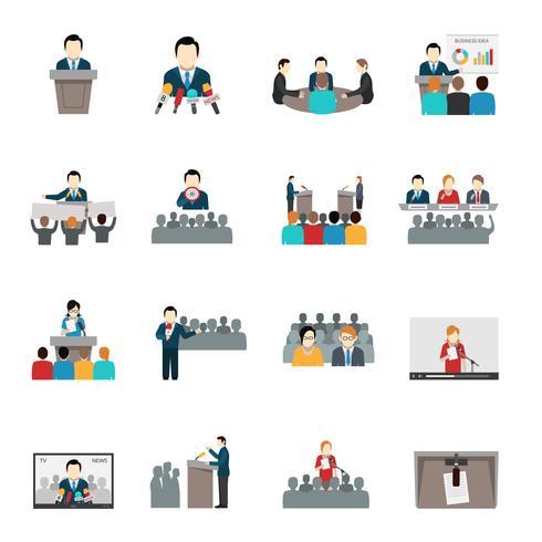 public speaking icons set vektor
