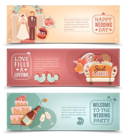 Wedding concept flat banners set vector
