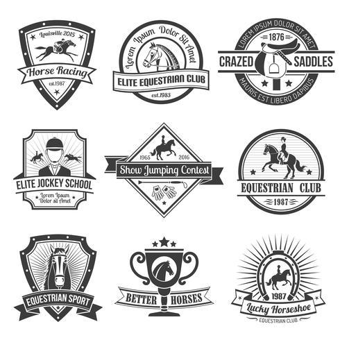 Emblemi sportivi equestri impostati