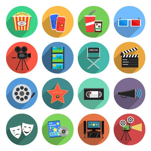 Movie Icons Flat Set vector