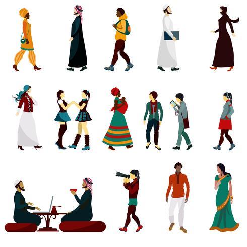 Conjunto de personas orientales vector