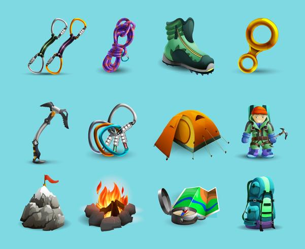 Alpine mountains climbing 3d icons set