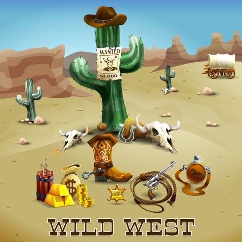 Wild West Background Illustration  vector