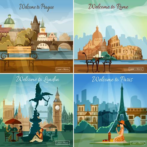 Ciudades turisticas 4 iconos planos de composicion. vector