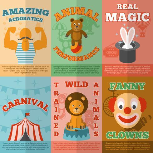 Circus plat pictogrammen samenstelling poster