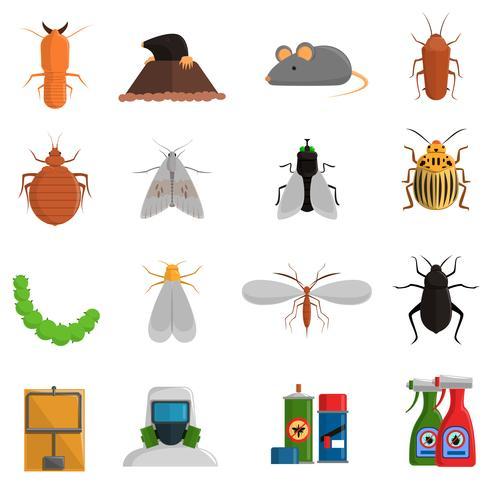 Set di icone dei parassiti vettore