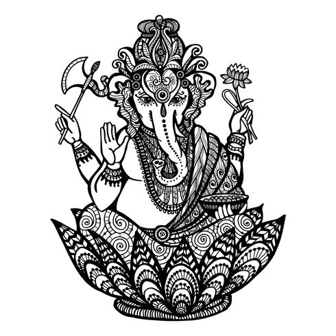 Ilustración decorativa de Ganesha vector