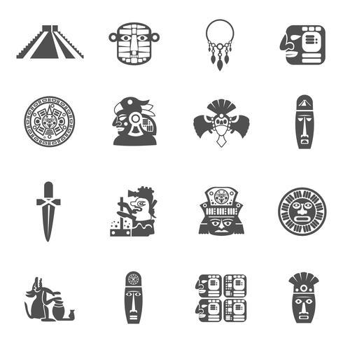 icônes maya noir vecteur
