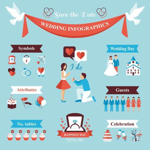 Conjunto de infografías de boda vector