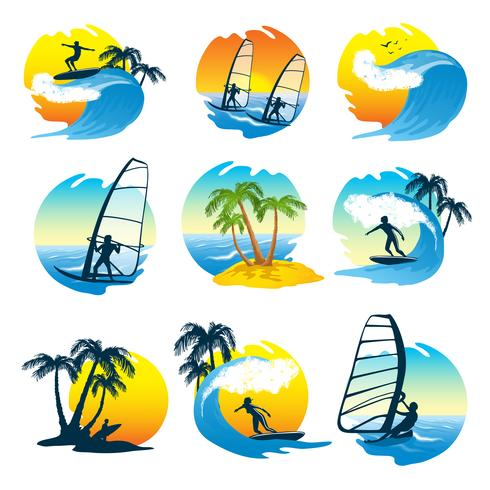 Surfing Icons Set  With People vector