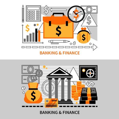 Banners horizontais de finanças vetor