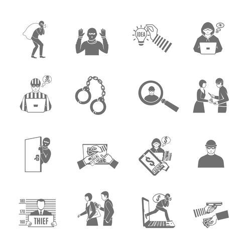 Diebstahl und Raub Icons Set