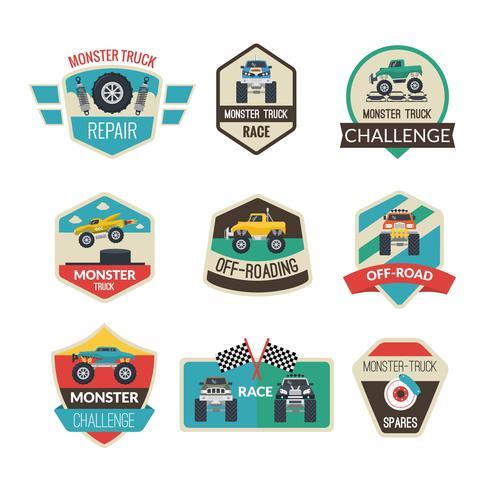 Monster Truck-emblemen vector